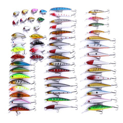 56pc/lot-Mixed-Fishing-Lure-Set-Minnow-Lure-Crank-Baits-Hooks-HENGJIA