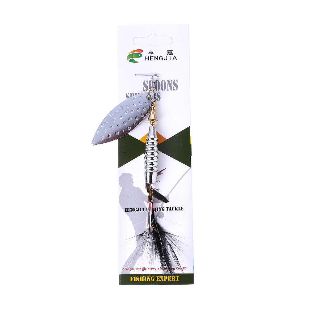 Silver-Spoon-Fishing-Lure-Feathered-Hook-Blade-Bait-HENGJIA