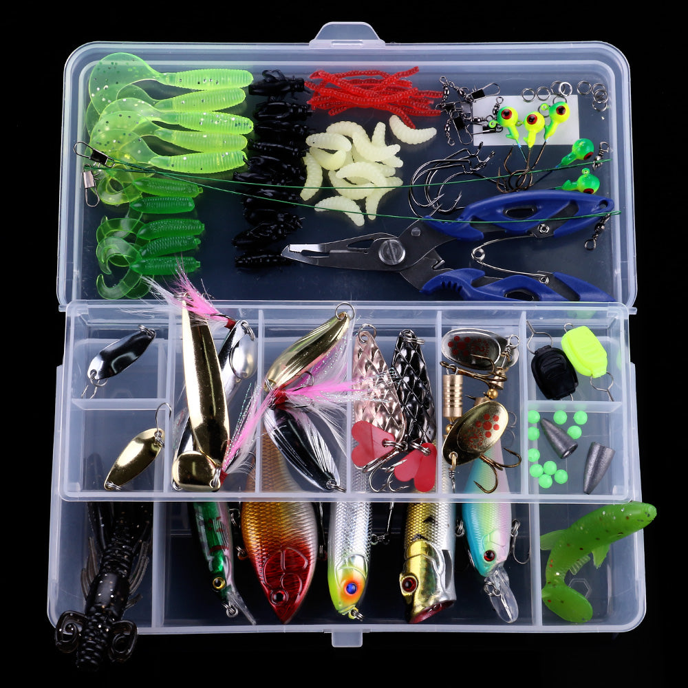110PCS Soft Minnow Lures Jig Hooks Mixed Sets HENGHJIA