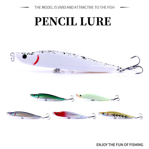 Pencil-Lure-Plastic-Pike-Bass-Hard-Lure-Wobbler-Fishing-Tackle-HENGJIA