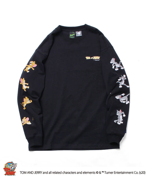 Sequence / TOM and JERRY FACES SLEEVE L/S TEE / トムとジェリー 袖 プリント ロゴ ロンT 2021 / 長袖 Tシャツ / B-ONE-SOUL