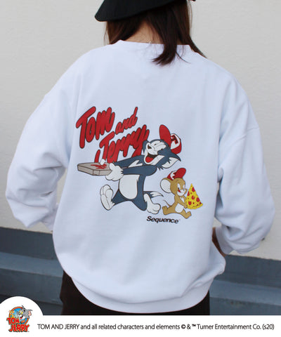Sequence / TOM and JERRY PIZZA ART SWEAT / トムとジェリー PIZZA プリント ロゴ スウェット 2021 / 長袖 バックプリント プルオーバー / B-ONE-SOUL