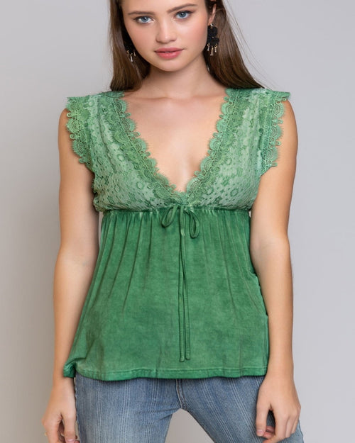 Tied On Lace Top-Tops-Pol Clothing-Small-Green-Inspired Wings Fashion
