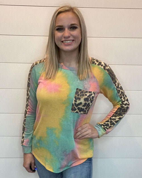 Leopard Pocket Tie Dye Top-Tops-Heimish-Small-Inspired Wings Fashion