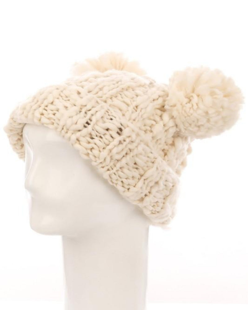 Crochet Double Pom Beanie-Accessories-Fame Accessories-IV-Inspired Wings Fashion