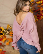 Your Favorite Twist Sweater-Sweaters-Main Strip-Small-Mauve-Inspired Wings Fashion