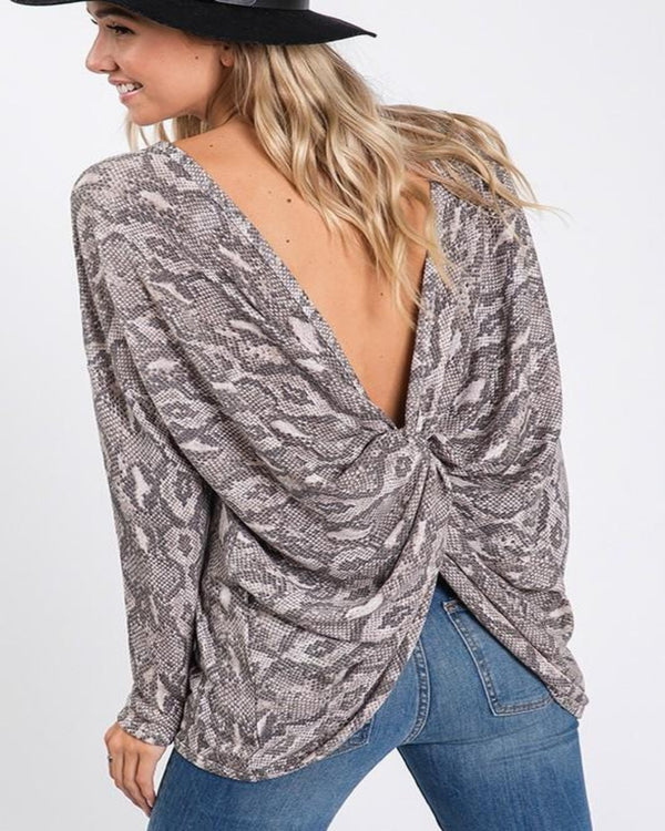 Snake Twisted Open Back Blouse