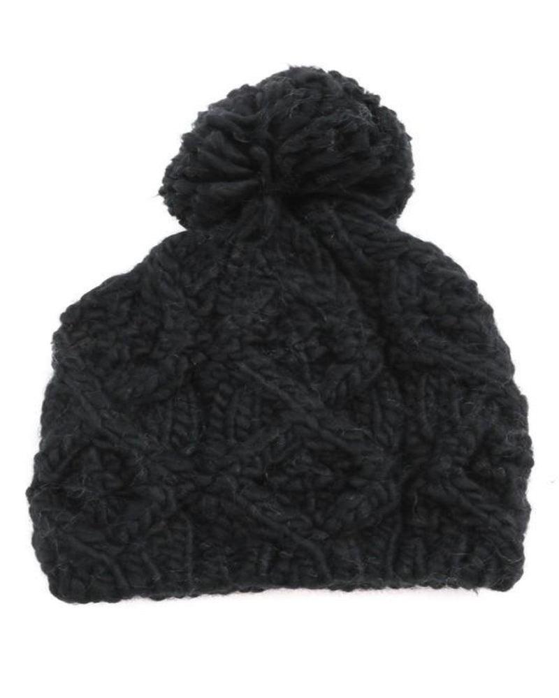 Pompom Top Knitted Beanie-Accessories-Fame Accessories-Black-Inspired Wings Fashion