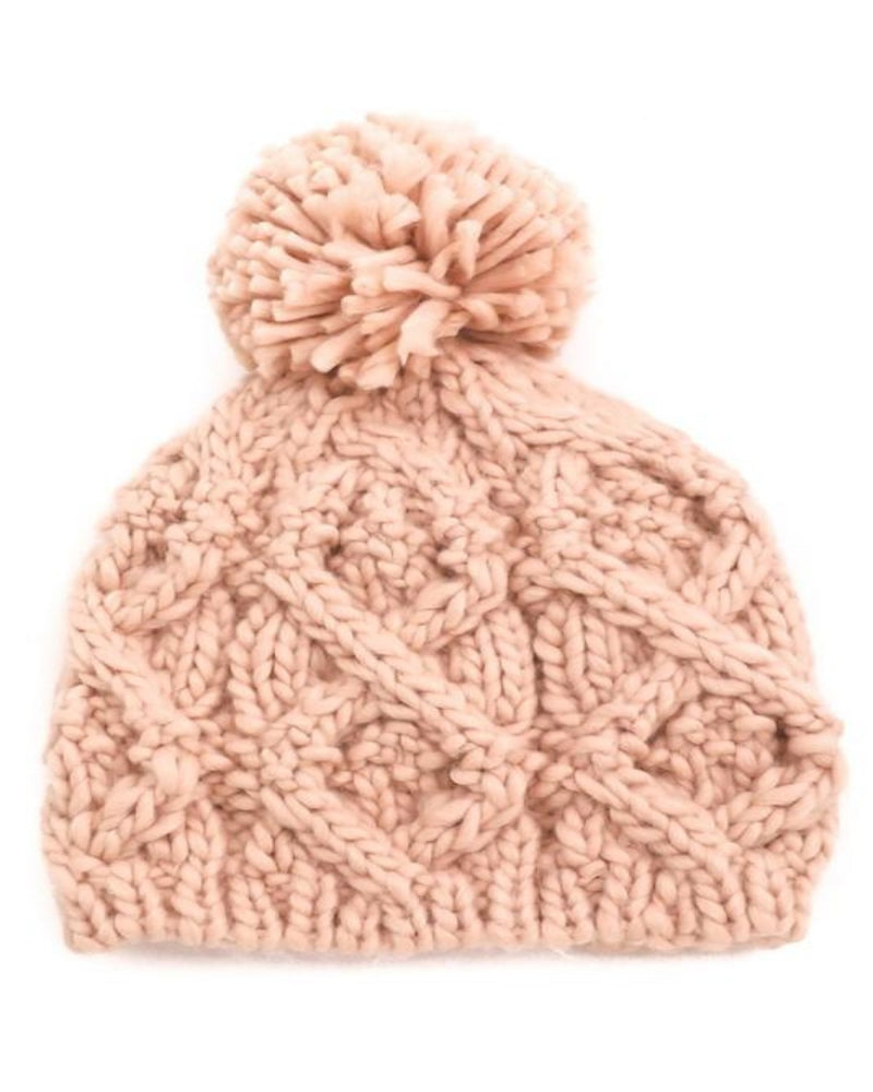 Pompom Top Knitted Beanie-Accessories-Fame Accessories-Pink-Inspired Wings Fashion