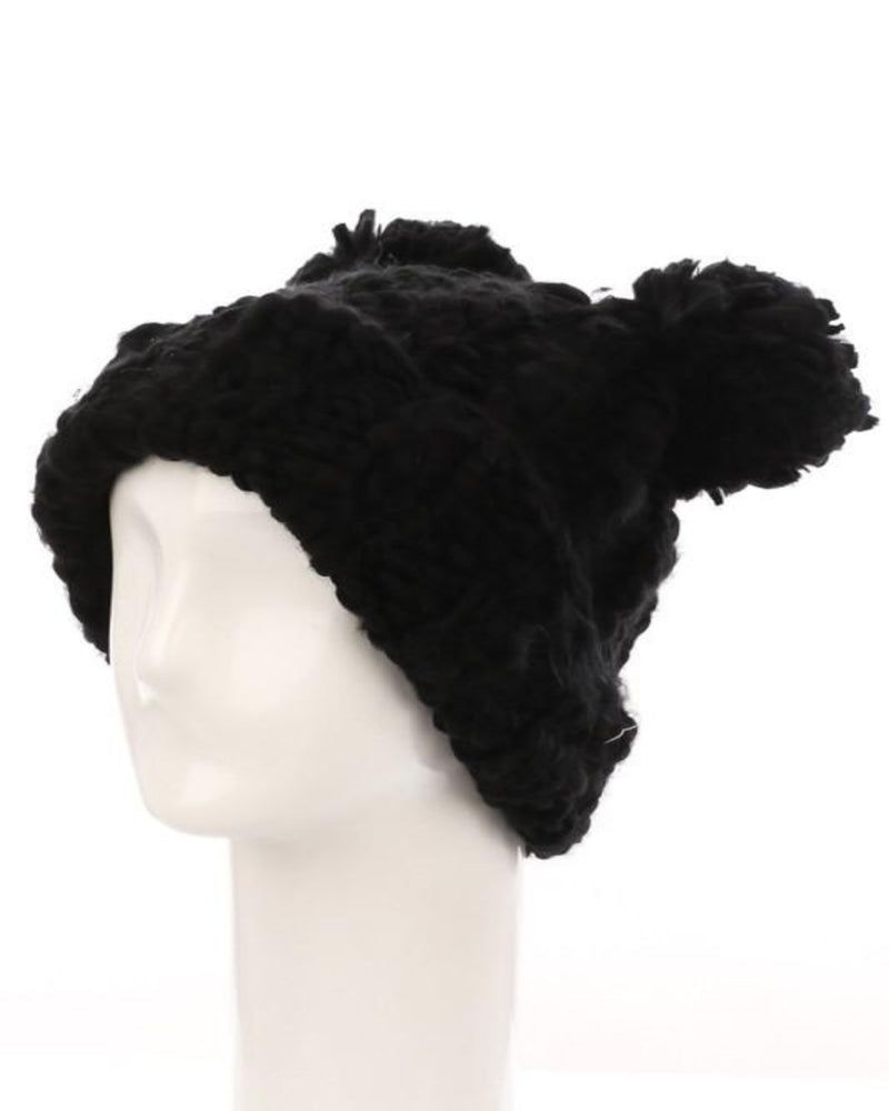 Crochet Double Pom Beanie-Accessories-Fame Accessories-BK-Inspired Wings Fashion