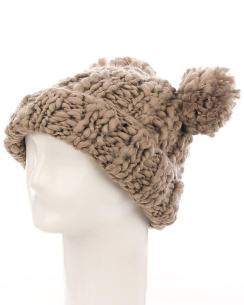 Crochet Double Pom Beanie-Accessories-Fame Accessories-KA-Inspired Wings Fashion