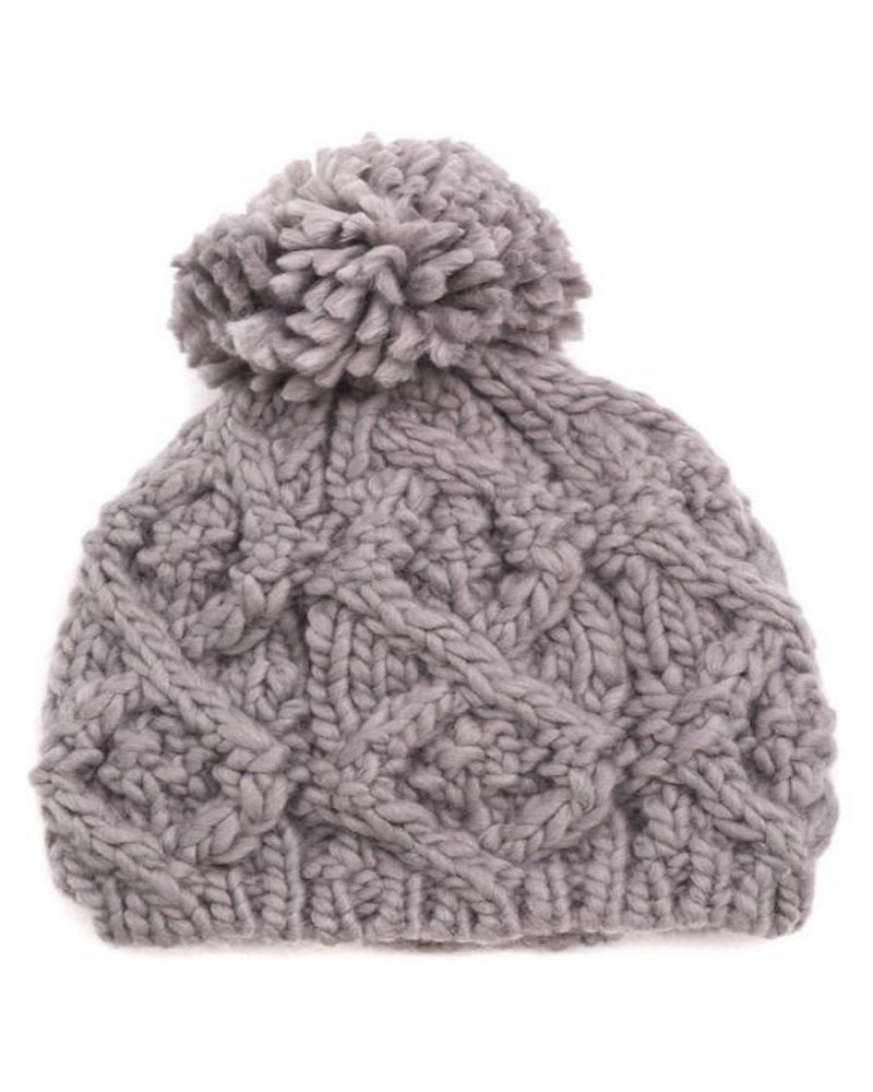 Pompom Top Knitted Beanie-Accessories-Fame Accessories-Grey-Inspired Wings Fashion