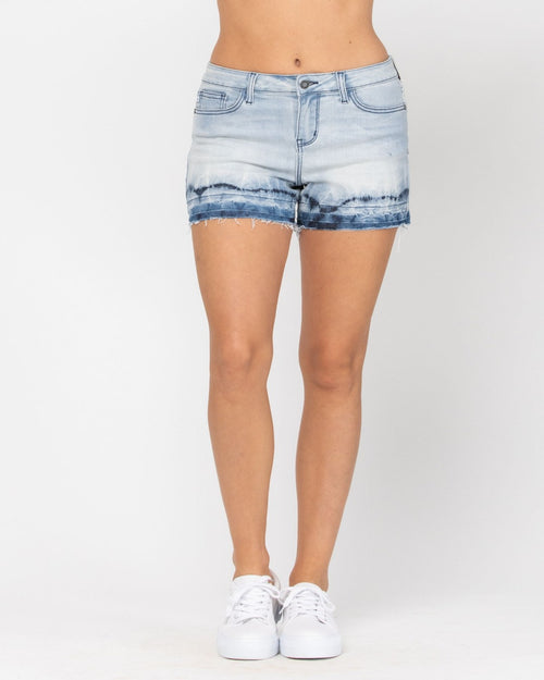 Ombre Release Denim Shorts-bottoms-Judy Blue-Small-Inspired Wings Fashion