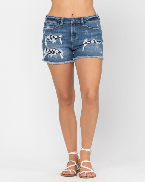Daisy Patch Shorts-bottoms-Judy Blue-Small-Inspired Wings Fashion