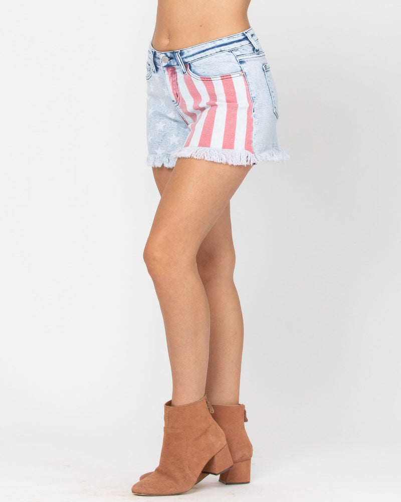 USA Print Shorts-bottoms-Judy Blue-Small-Inspired Wings Fashion