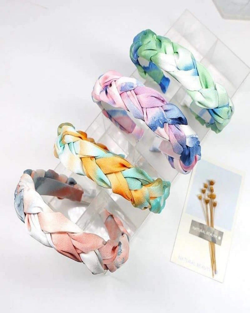 Braided Tie Dye Headband-Accessories-Julia Rose Wholesale-Pink/Purple/Blue-Inspired Wings Fashion