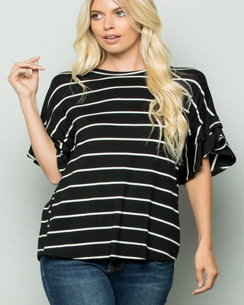Hello Stripe Top-Tops-Heimish-Small-Black/Ivory-Inspired Wings Fashion
