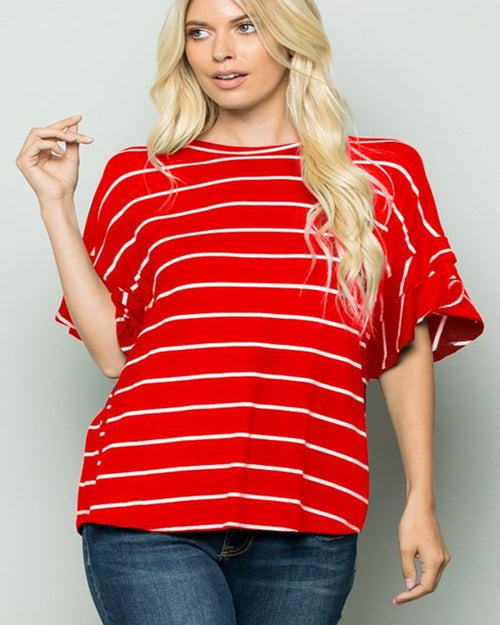 Hello Stripe Top-Tops-Heimish-Small-Red/Ivory-Inspired Wings Fashion