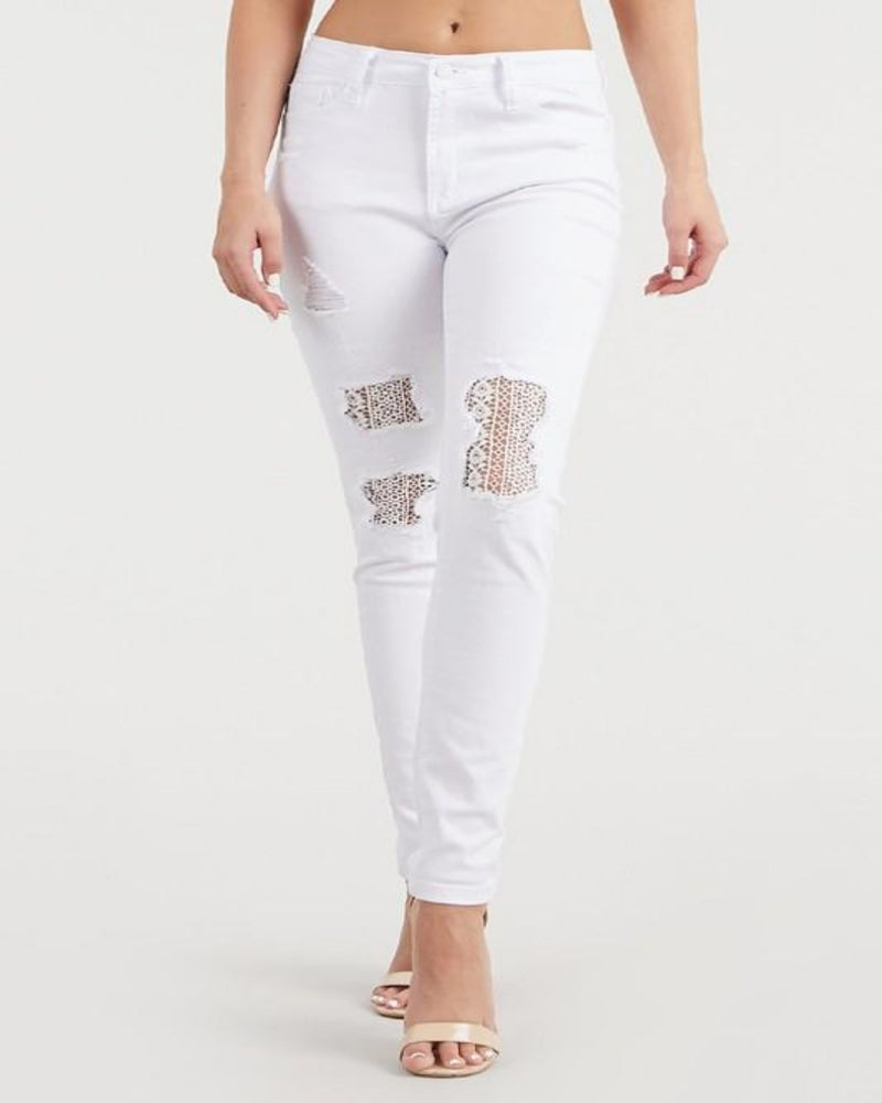 White Lace Skinny Jeans- Judy Blue-bottoms-Inspired Wings Fashion-1(25)-Inspired Wings Fashion