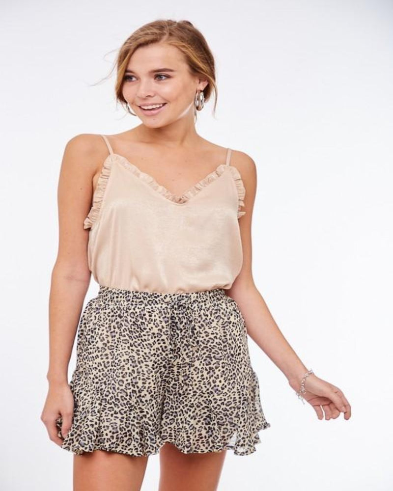 Nude Ruffled Cami-Tops-Inspired Wings Fashion-Small-Inspired Wings Fashion