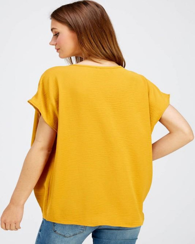 Breezy Blouse-Tops-Inspired Wings Fashion-Small-Mustard-Inspired Wings Fashion