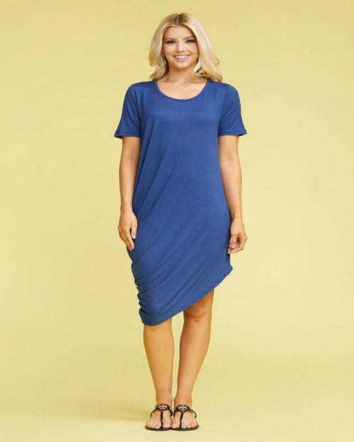 Neatly Draped Midi Dress-Dresses-Ninexis-1X-Navy-Inspired Wings Fashion