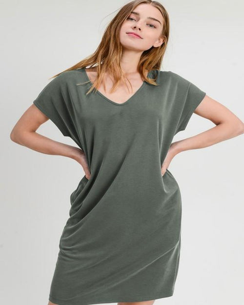 Lovely T-Shirt Dress-Dresses-Inspired Wings Fashion-Small-Olive-Inspired Wings Fashion