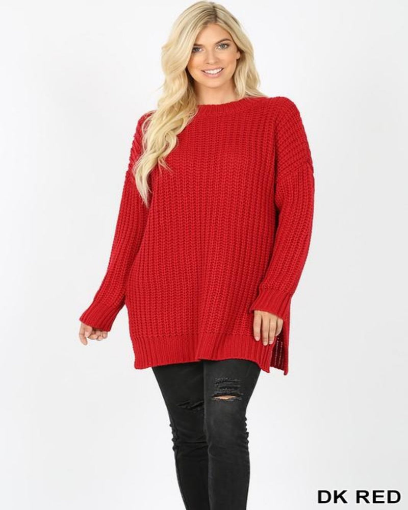 Chunky Knit Sweater-Sweaters-Inspired Wings Fashion-Small-Dk Red-Inspired Wings Fashion