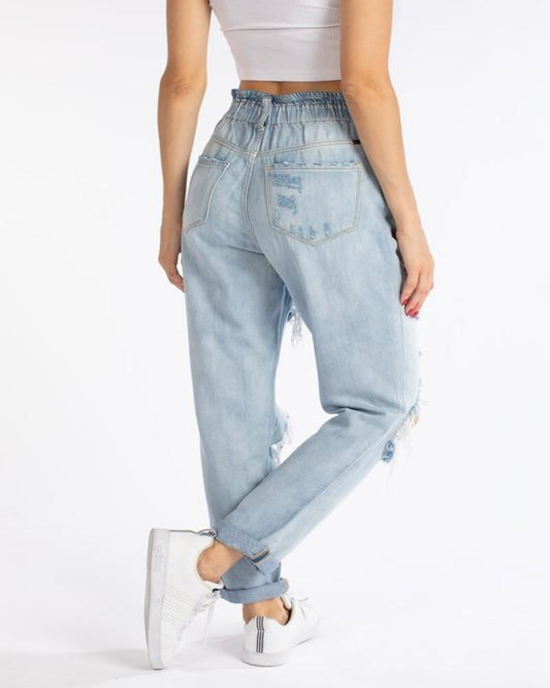 Distressed High Rise Mom Jeans-bottoms-KanCan-0-Inspired Wings Fashion