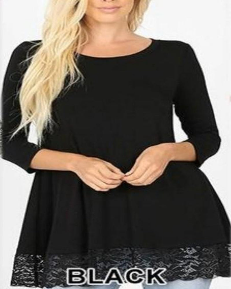 Simple Lace Blouse-Tops-Inspired Wings Fashion-Small-Black-Inspired Wings Fashion