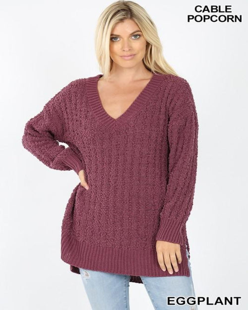 V-Neck Popcorn Sweater-Sweaters-Inspired Wings Fashion-Small-Ash Mustard-Inspired Wings Fashion