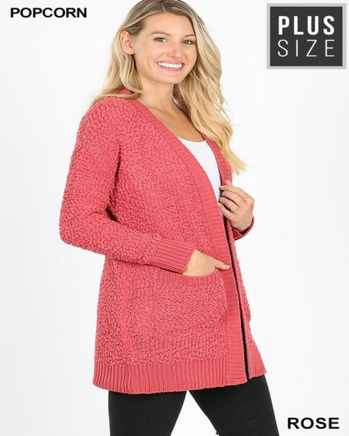 Popcorn Cardigan-Plus Size-Inspired Wings Fashion-1X-Rose-Inspired Wings Fashion