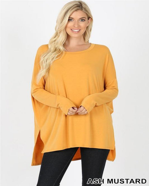 Dolman Long Sleeve-Tops-Inspired Wings Fashion-Small-Ash Mustard-Inspired Wings Fashion