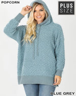 Popcorn Sweater Hoodie-Plus Size-Inspired Wings Fashion-3X-Blue Grey-Inspired Wings Fashion
