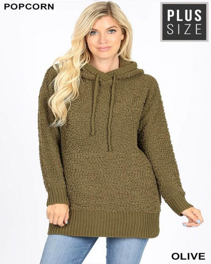Popcorn Sweater Hoodie-Plus Size-Inspired Wings Fashion-1X-Olive-Inspired Wings Fashion