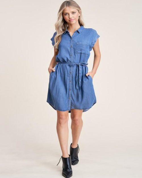 Believe In Love Denim Dress-Dresses-Staccato-Small-Inspired Wings Fashion