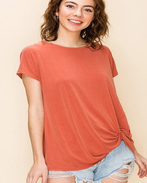 Casual Knot T-Shirt-Tops-Inspired Wings Fashion-SMALL-TERRACOTTA-Inspired Wings Fashion
