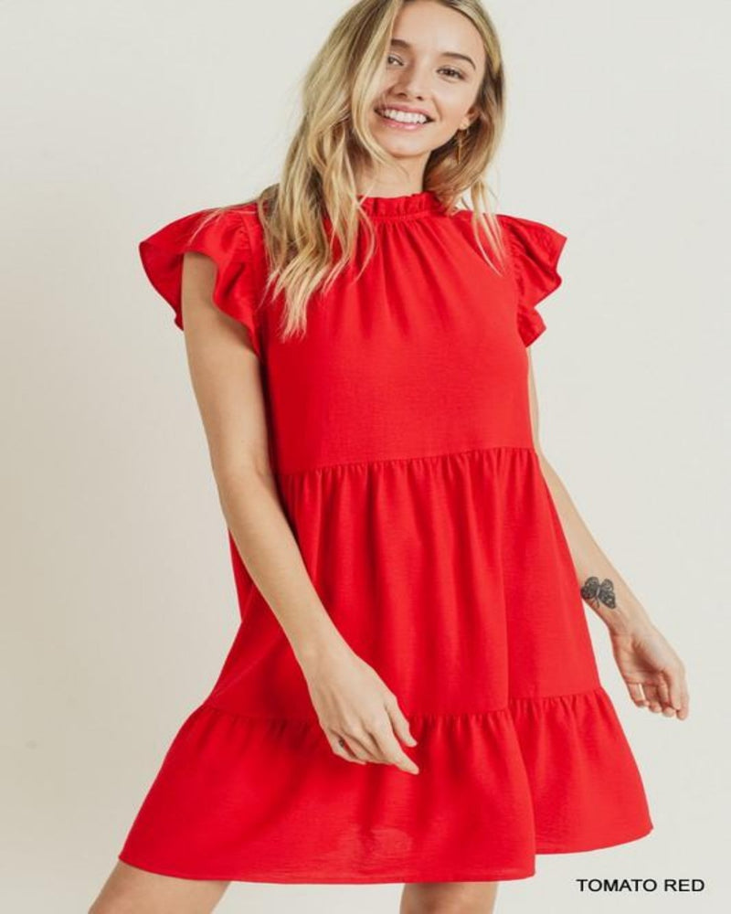 Tiered Ruffle Mock Dress-Dresses-Jodifl-Small-Tomato Red-Inspired Wings Fashion