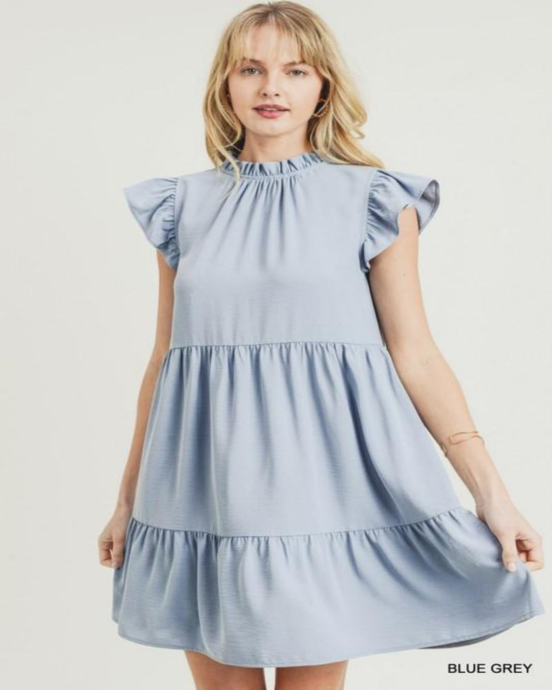 Tiered Ruffle Mock Dress-Dresses-Jodifl-Small-Blue Grey-Inspired Wings Fashion