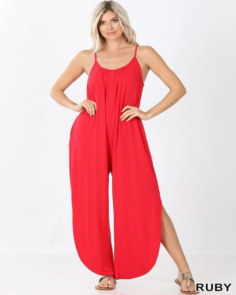 Shirred Sherry Jumpsuit-Jumpsuit-Zenana-Small-Ruby-Inspired Wings Fashion