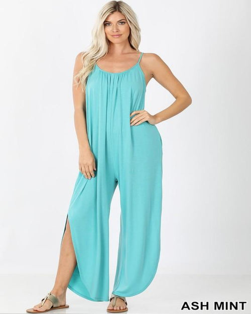 Shirred Sherry Jumpsuit-Jumpsuit-Zenana-Small-Ash Mint-Inspired Wings Fashion