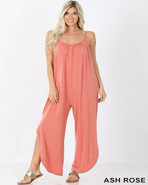 Shirred Sherry Jumpsuit-Jumpsuit-Zenana-Small-Ash Rose-Inspired Wings Fashion