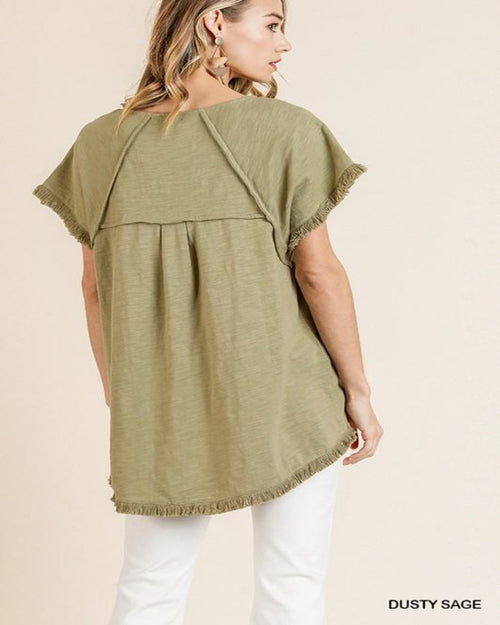 Perfect Frayed Top-Tops-Umgee-Small-Inspired Wings Fashion