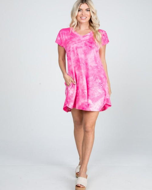 Pink Tie Dye Mini Dress-Dresses-Heimish-Small-Inspired Wings Fashion