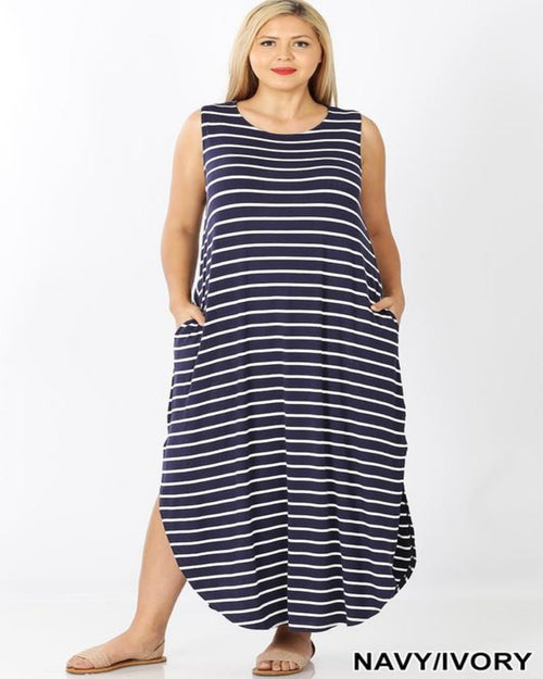 Scarlet Stripe Maxi Dress-Plus Size-Zenana-1X-Navy/Ivory-Inspired Wings Fashion