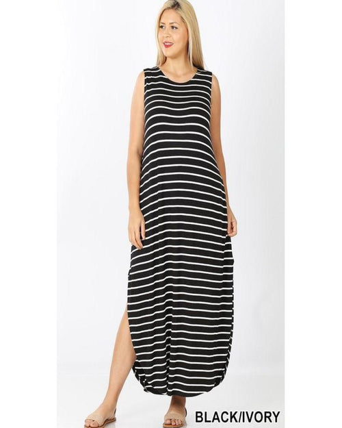 Scarlet Stripe Maxi Dress-Plus Size-Zenana-1X-Black/Ivory-Inspired Wings Fashion