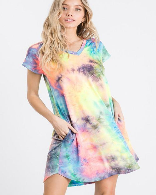 Relaxed Tie Dye Mini Dress-Dresses-Heimish-Small-Inspired Wings Fashion