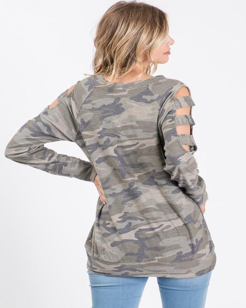 Cold Shoulder Camo Top-Top-Heimish-Small-Inspired Wings Fashion