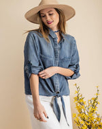 Field Day Denim Top-Tops-Easel-Small-Inspired Wings Fashion