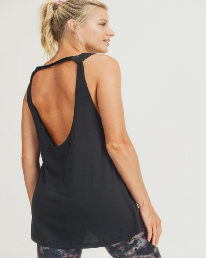 Longline Strap-Back Top-Tops-Mono B-Black-Small-Inspired Wings Fashion